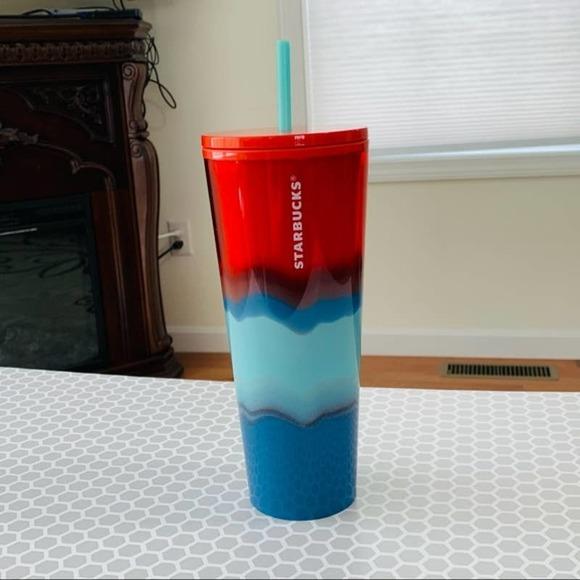 Starbucks Red Blue Swirl Waterfall Water Trio